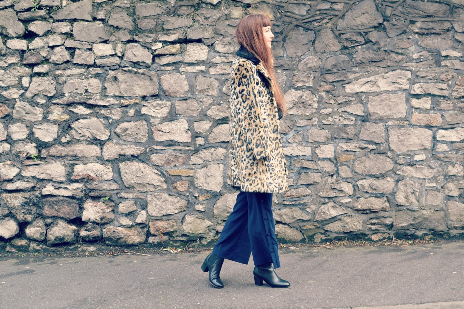 Topshop leopard print coat ASOS culottes Topshop megan boots