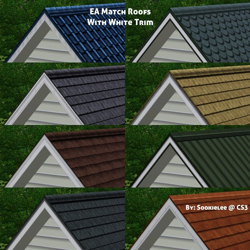 Empire Sims 3 EA Match Roofs with White Trim by Sookielee