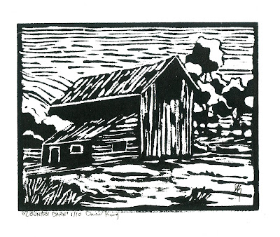 linocut rural barn print black white