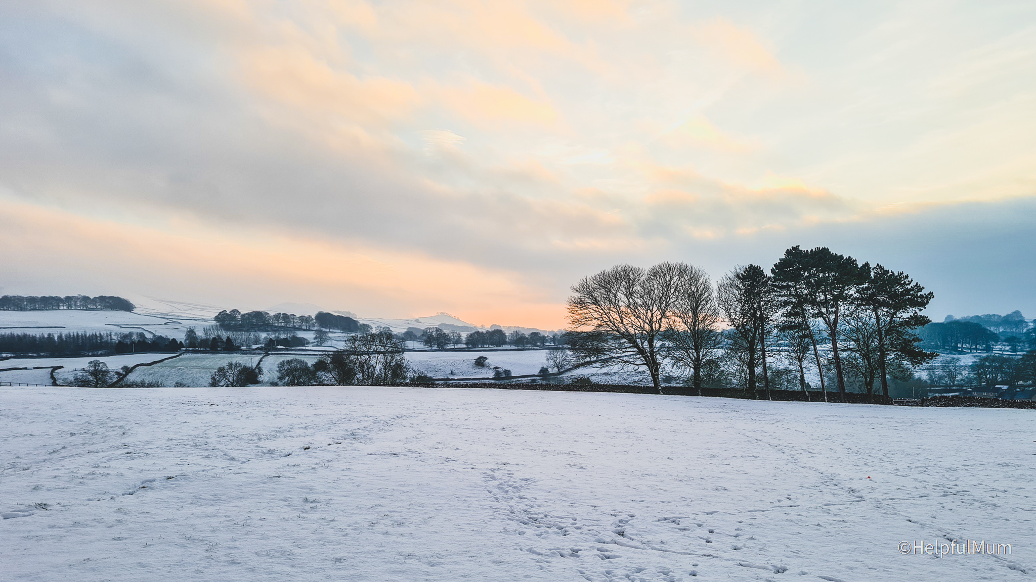 Yorkshire Dales sunset in snow