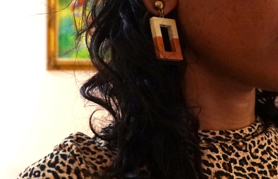 Statement rectangle earrings I love