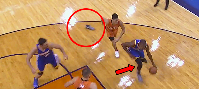 Kevin Durant Loses Sneaker, Knocks Down Jumper (VIDEO)