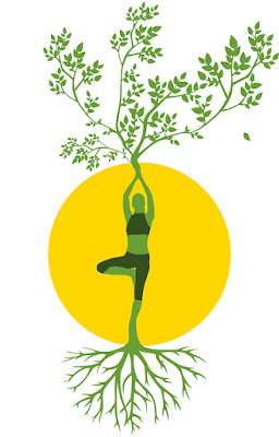 A drawing of a woman doing yoga, with her feet as roots and her hands as branches of a tree.