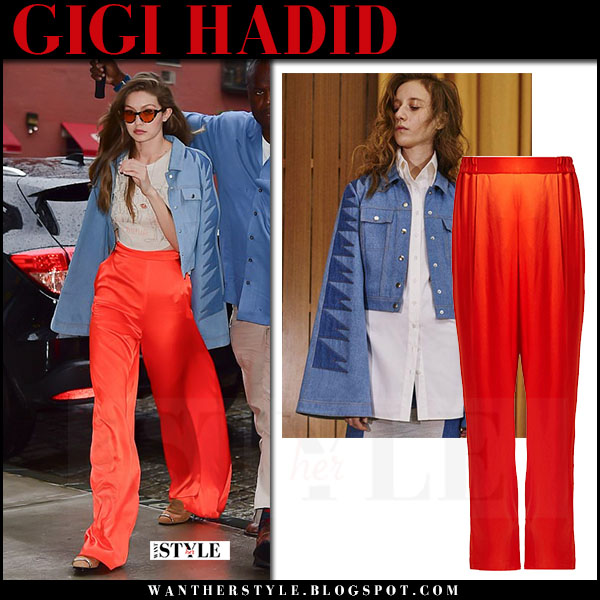 Gigi Hadid in red satin trousers and denim jacket what she wore june 19 2017