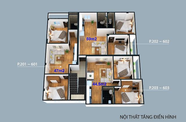 Mặt bằng chi tiết các căn hộ thuộc tòa 4C Đông Ngạc Bắc Từ Liêm
