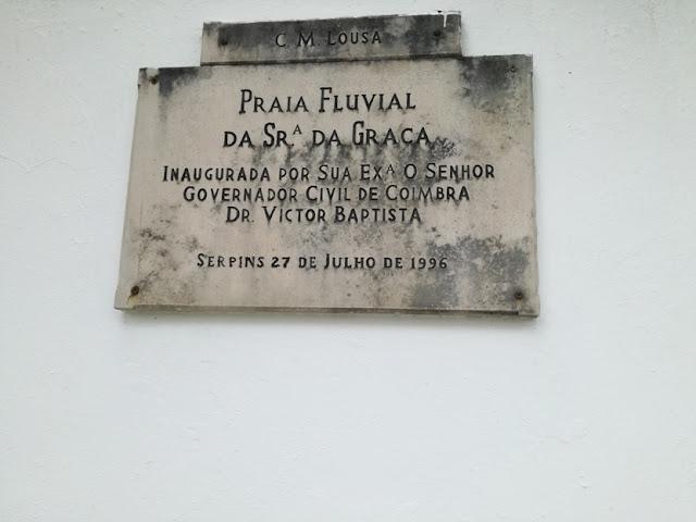 Placa da Inauguração da Praia Fluvial da Srª da Graça