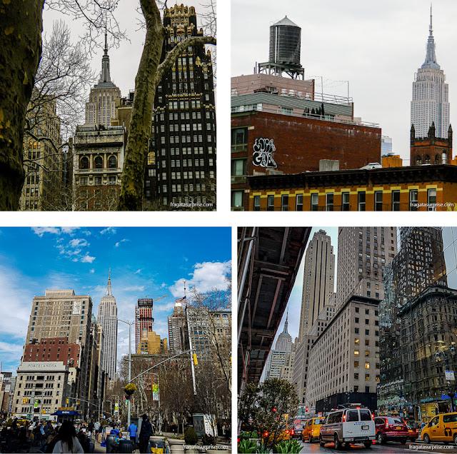 O Empire Stete Building visto de diversos pontos de Nova York