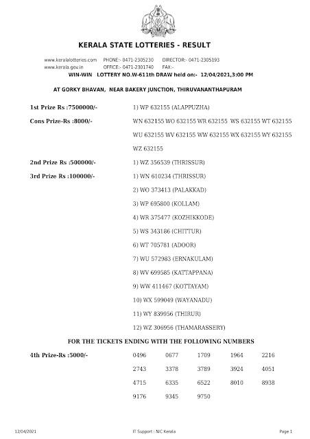 Keralalottery,Live Kerala Lottery Results Today 12-04-2021,Kerala Lottery Result Win Win,Win Win Lottery Online,W 611,Kerala Lottery Today