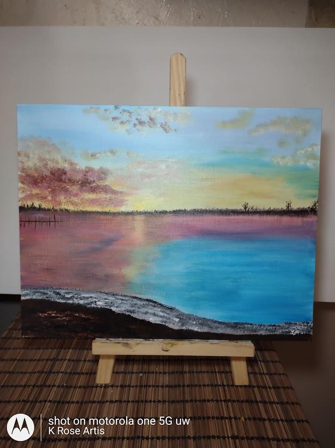 "I painted ""sun over lake Guntersville"" photo courtesy of Angela ""little sis"""