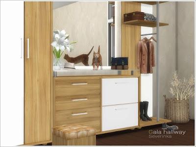 Gala hallway Прихожая Гала для The Sims 4 Набор мебели и декора для оформления прихожей. В набор входит 8 предметов: - высокий комод - высокий открытый комод - комод - комод со стеклянной столешницей - зеркало - пуф - пальто на вешалке - вешалка Чтобы установить зеркало, вам нужен «день Спа». Автор:Severinka_