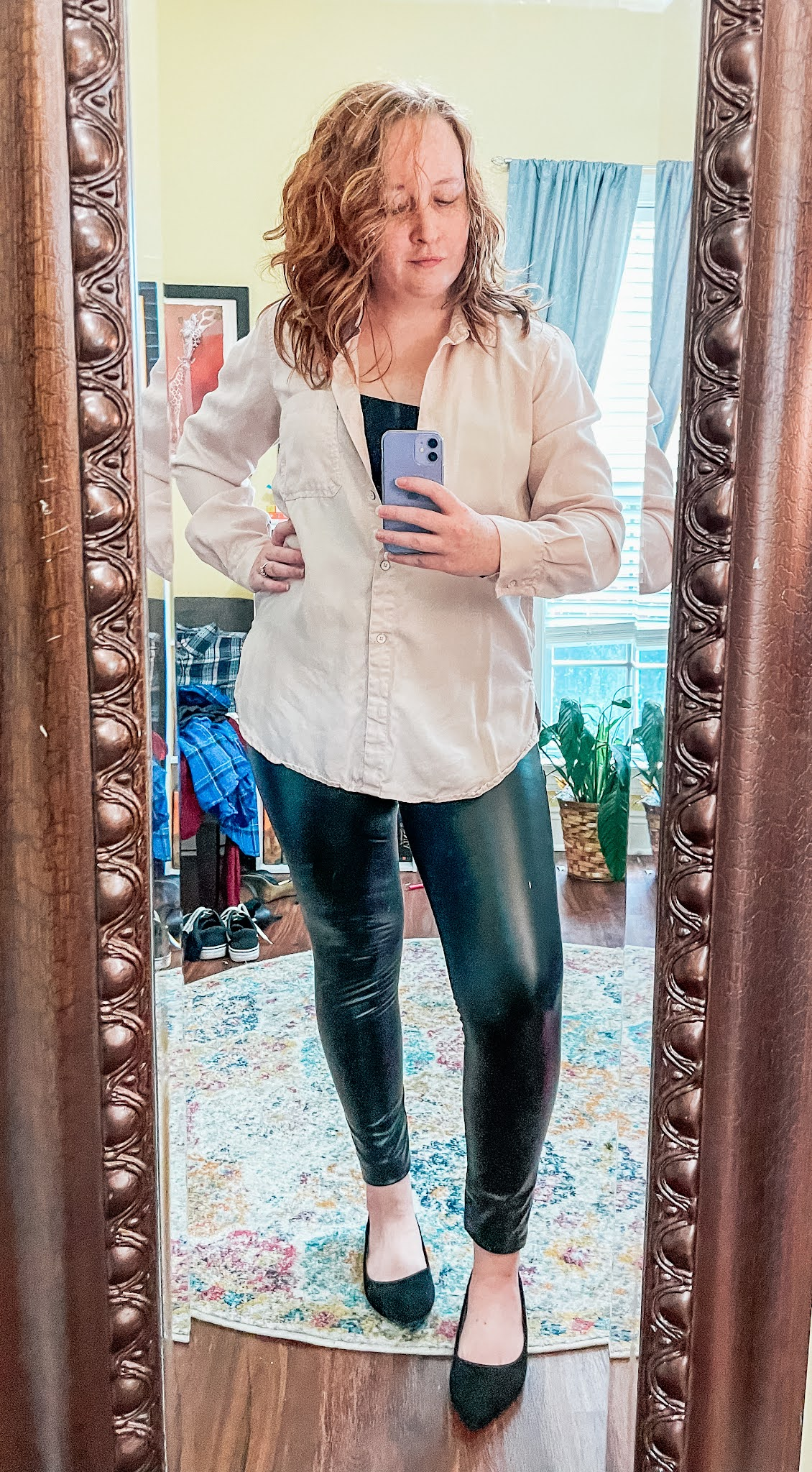 leather-leggings-oversized-button-up-flats
