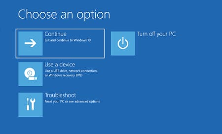 Choose option to click on Troubleshooting screen