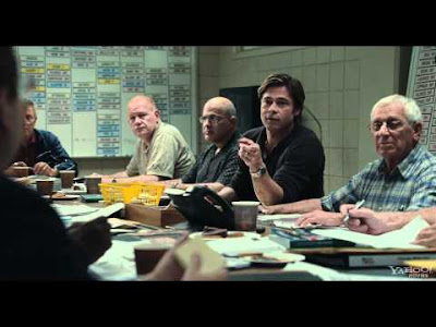 Brad Pitt stars in Moneyball as Billy Bean, Oakland Athletics GM
