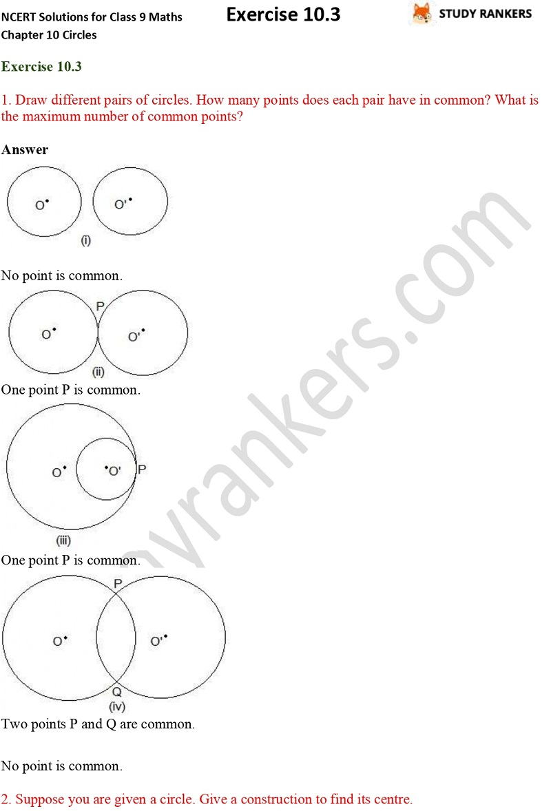 NCERT Solutions for Class 9 Maths Chapter 10 Circles Exercise 10.3 Part 1