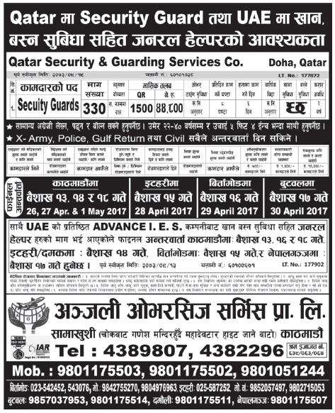 Jobs in Qatar for Nepali Salary Rs 44,800