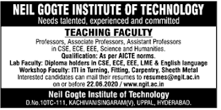 TS Govt jobs,Govt jobs,Faculty jobs,Neil Gogte Institute of Technology Assistant Professor Recruitment,Neil Gogte Institute of Technology,Professor jobs,Assistant Professor,Hyderabad,Telangana,NGIT