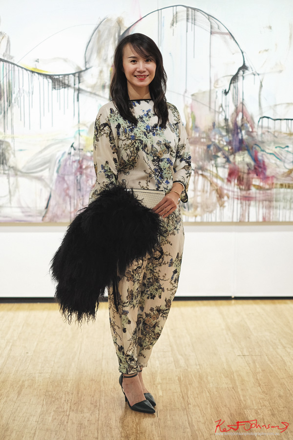 A Chinese pattern jumpsuit - Beyond the Light - Chinese Artist He Zige - Photos By Kent Johnson for Street Fashion Sydney.