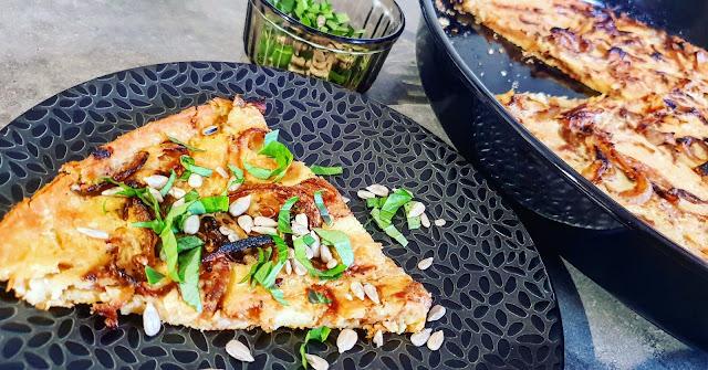 SOCCA AUX OIGNONS CARAMELISES - vegan - sans gluten
