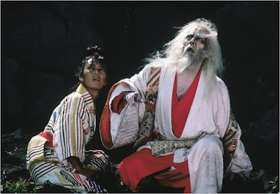 Delirious Hidetora with the Royal Jester in Oscar winning Japanese war epic Ran, Directed by Akira Kurosawa