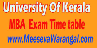 University Of Kerala MBA III Sem 2016 Exam Time table