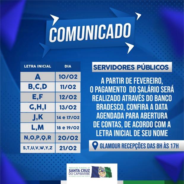 Servidores da Prefeitura de Santa Cruz do Capibaribe receberão seus salários pelo Bradesco a partir de fevereiro