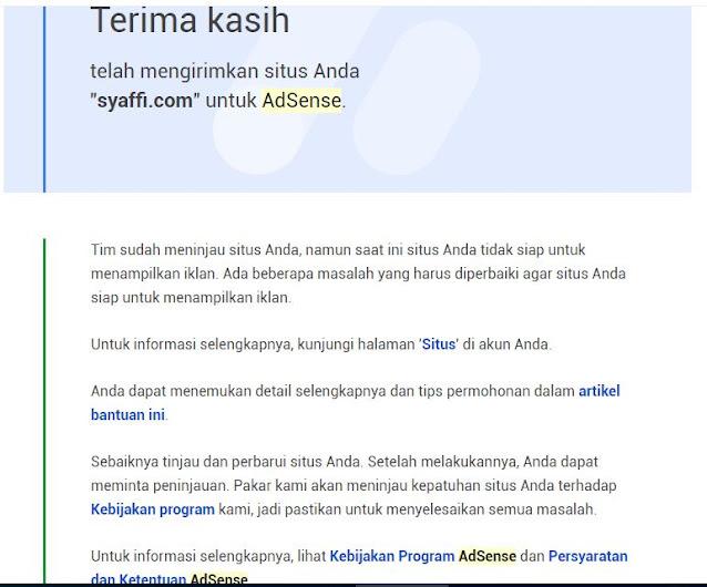 Google Adsense diterima