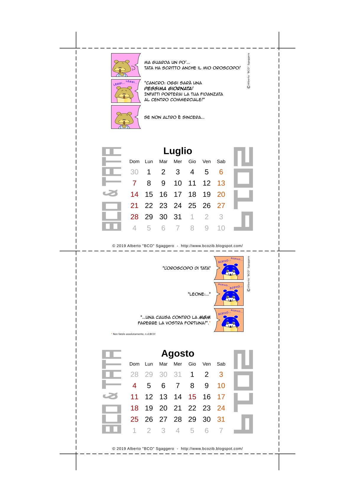 Il calendario 2019 di BCO e TATA - Luglio e Agosto