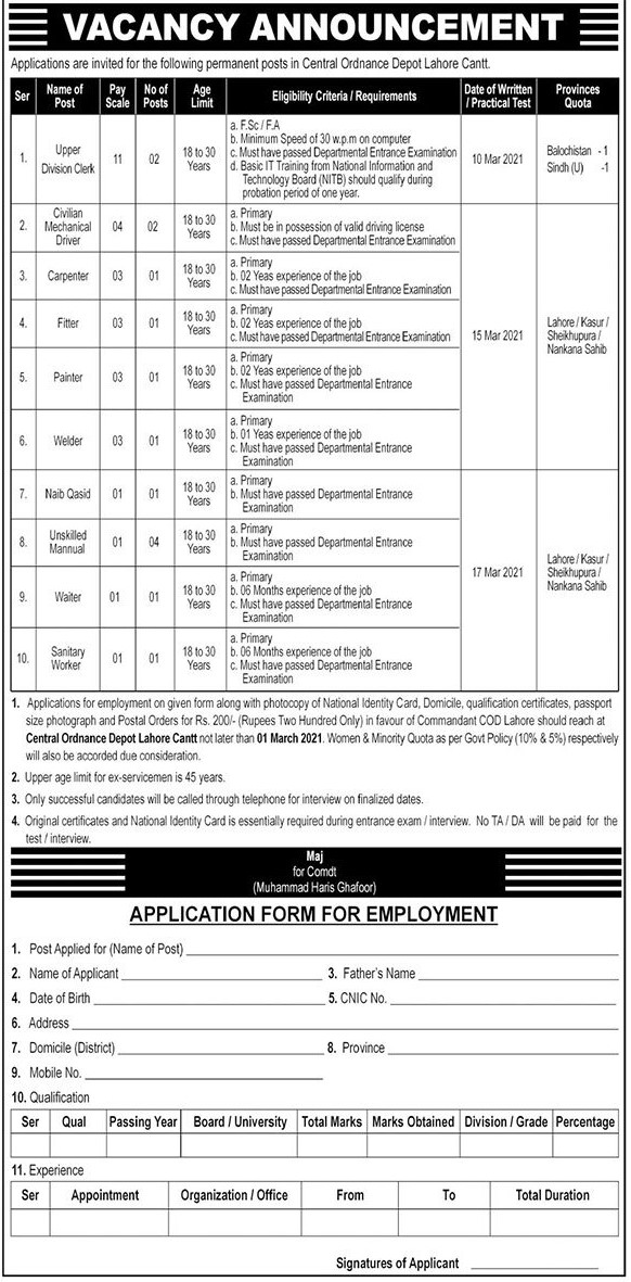 Military jobs - Army Careers - Army Vacancy - Army Clerk - Army Officer Jobs - Military Positions - Army Positions - Pak Army Jobs 2021