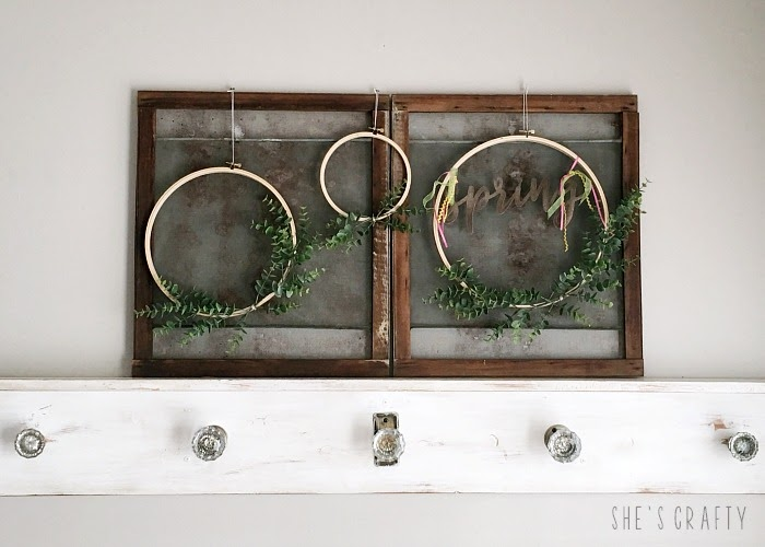 Spring Home Tour - farmhouse, Easter and vintage style- vintage window screens, embroidery hoop wreaths