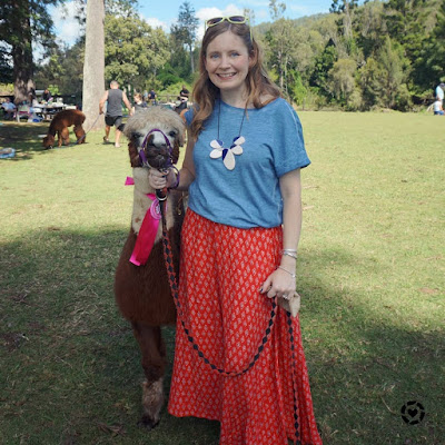Mica Away From Blue montview alpaca tee and red maxi skirt outfit