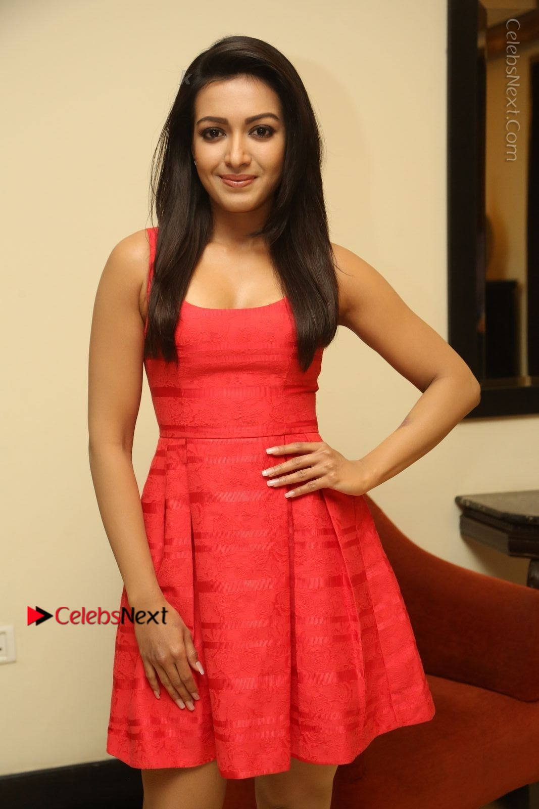 Catherine Tresa Latest Photos in Red Short Dress at Intex Air Conditioners Launch-