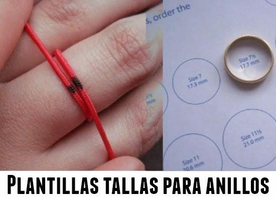 anillos, sortijas, tallas, dedos, plantillas