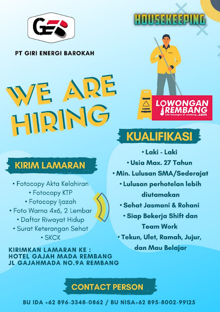 Lowongan Kerja Housekeeping PT Giri Energi Barokah Rembang