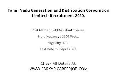 TANGEDCO TNEB Recruitment 2020 Apply Online | 2900 Posts TNEB Latest Govt Jobs.