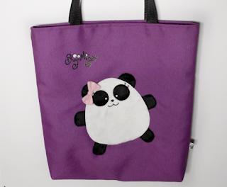 Guyuminos Bolsa de mano morada con oso panda