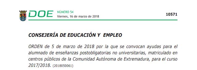 AYUDAS DE TRANSPORTE ,FIN DE SEMANA,Y RESIDENCIA PARA ESTUDIANTES DE FORMACION PROFESIONAL Y FORMACION PROFESIONAL BASICA EXTREMADURA