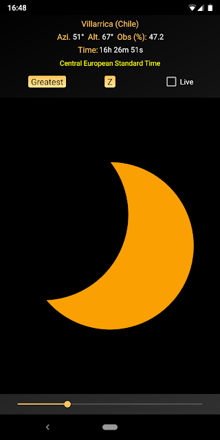 The 14 Dec 2020 total solar eclipse simulated by Eclipse Calculator 2 on a Pixel 2 XL.