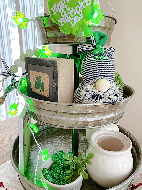 Sock gnome and st. Patrick's day decor in a tiered tray