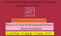 Karnataka Antibiotics & Pharmaceuticals Limited Recruitment 2017– 30 Professional Service Representatives, Agro Service Representative