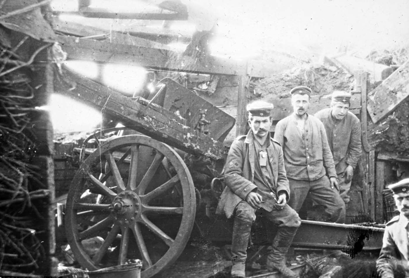 This photograph of members of Walter's gun crew was taken on the 1st of July 1916, the first day of the battle of the Somme.