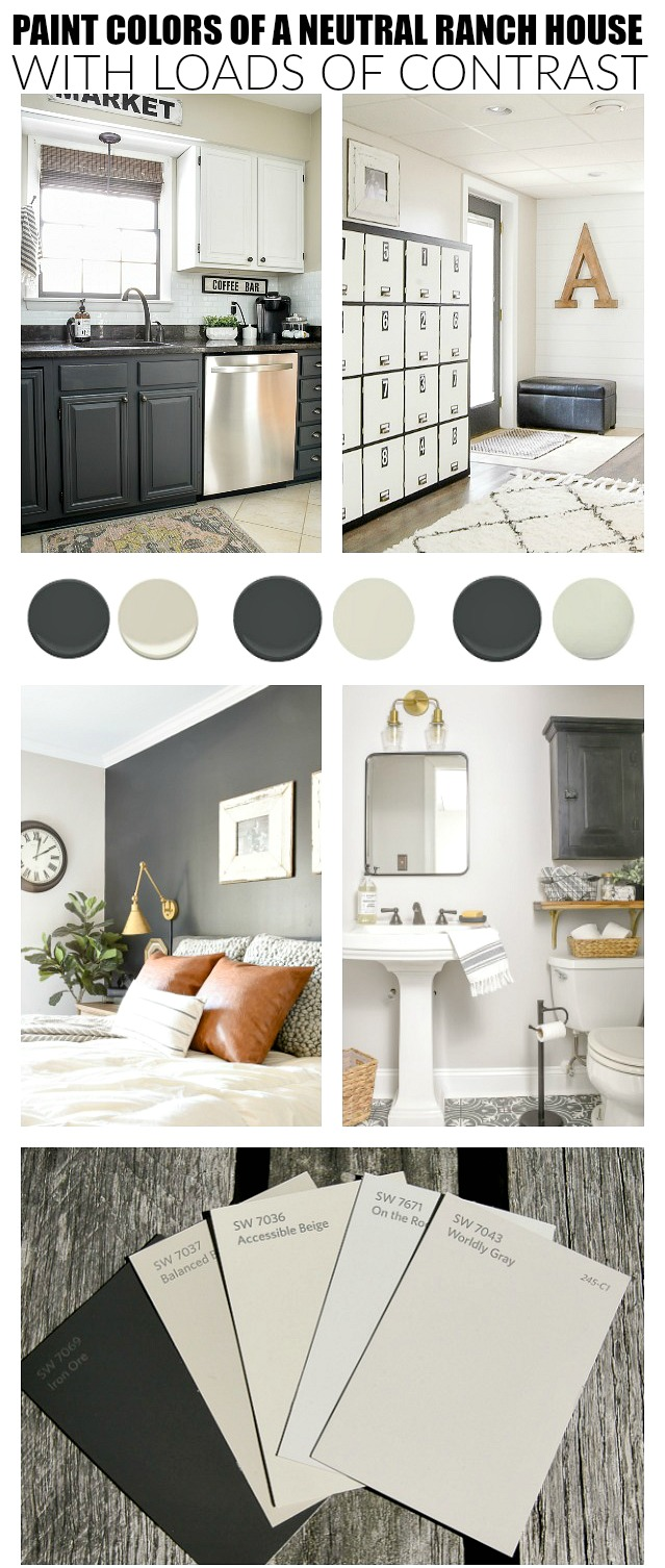 Paint colors of a neutral ranch home with loads of contrast.