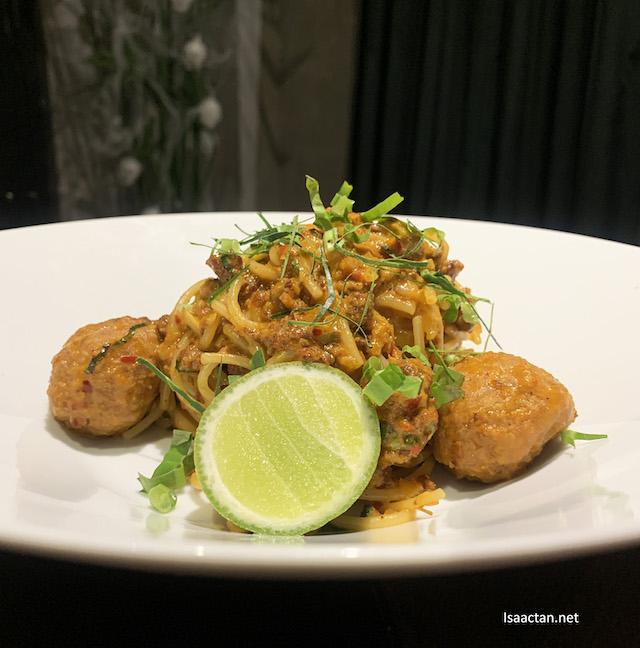 Tom Yum Bolognese Spaghetti.
