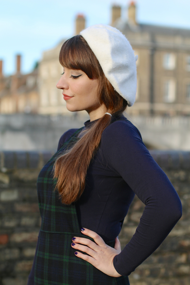 60s style pinafore dress with beret