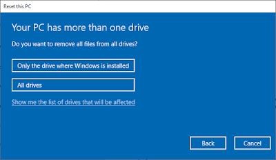 Pengaturan Hapus Data Hardisk Saat Reset Windows 10
