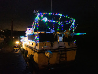 PHoto of colourful lights across Ravensdale's aft deck