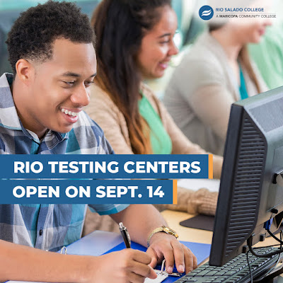 Poster with students working on computers, smiling.  Text: Rio Testing Centers Open on Sept. 14