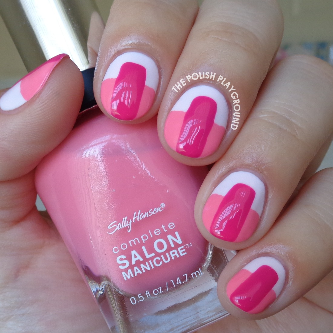 Pink on Pink Color Block Nail Art