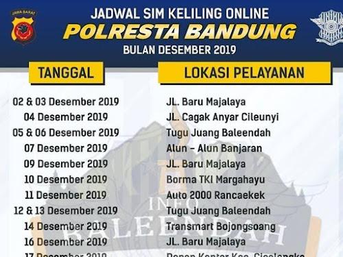 Jadwal SIM Keliling Polres Bandung Bulan Desember 2019