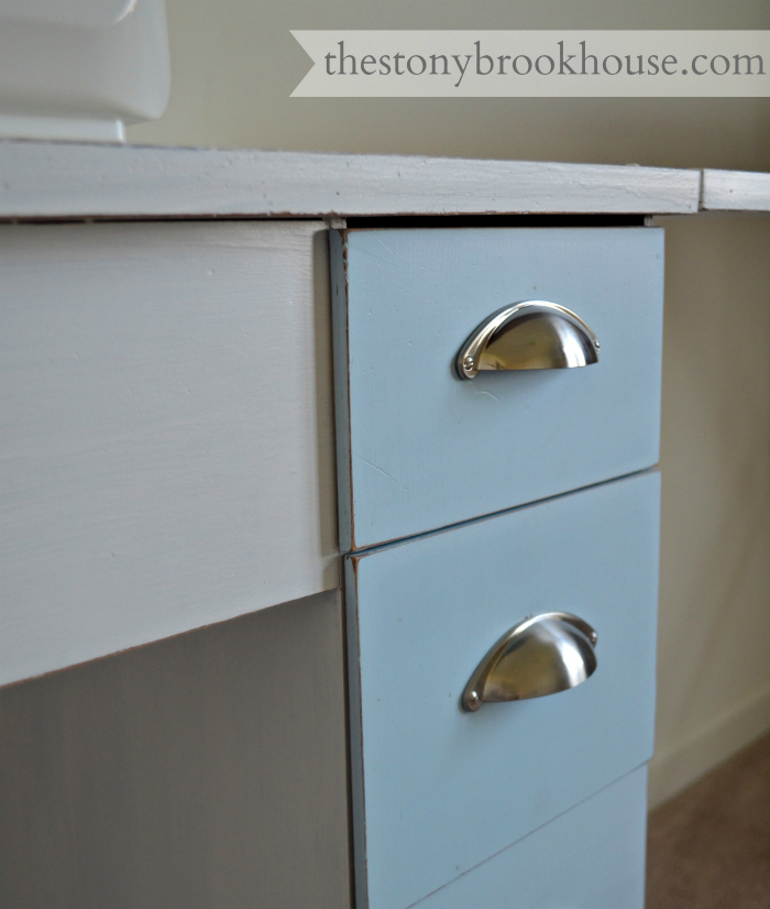 New Drawer Pulls - Sewing Table After
