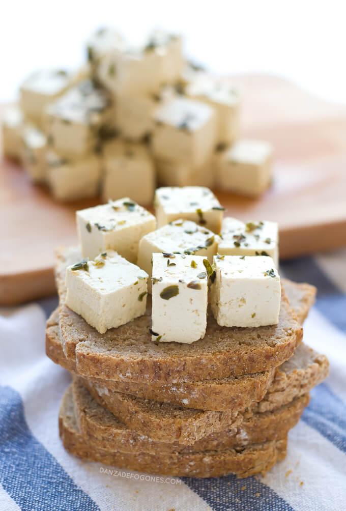 Healthy Vegan Feta Cheese (Fat & Cholesterol Free)  danceofstoves.com #danceofstoves